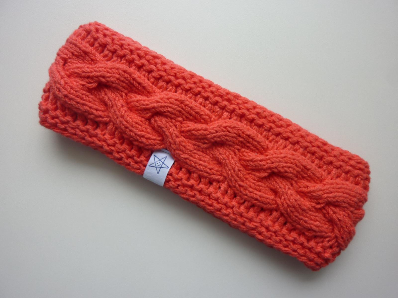 - gefüttertes Stirnband in hellrot aus Baumwolle handgestrickt - gefüttertes Stirnband in hellrot aus Baumwolle handgestrickt