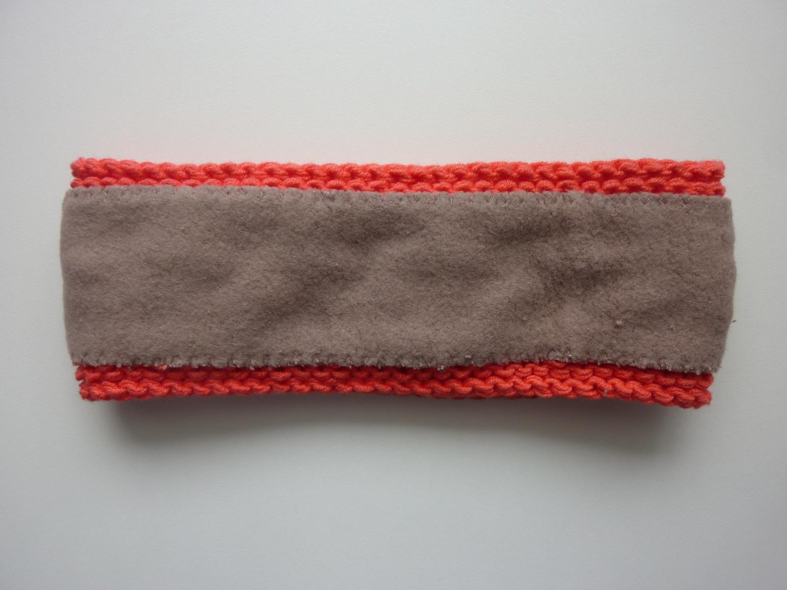 Kleinesbild - gefüttertes Stirnband in hellrot aus Baumwolle handgestrickt