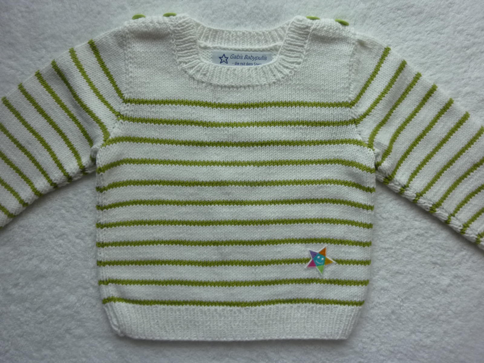- Kinderpullover Gr. 86/92 weiß hellgrün gestreift aus Baumwolle handgestrickt - Kinderpullover Gr. 86/92 weiß hellgrün gestreift aus Baumwolle handgestrickt