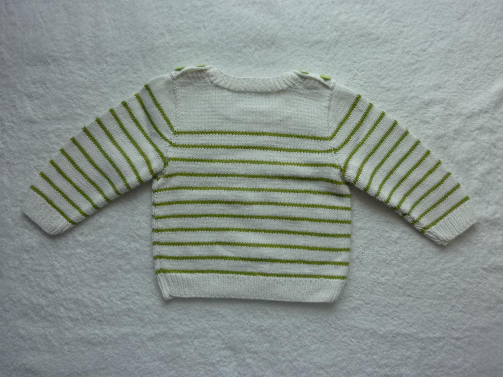 Kleinesbild - Kinderpullover Gr. 86/92 weiß hellgrün gestreift aus Baumwolle handgestrickt