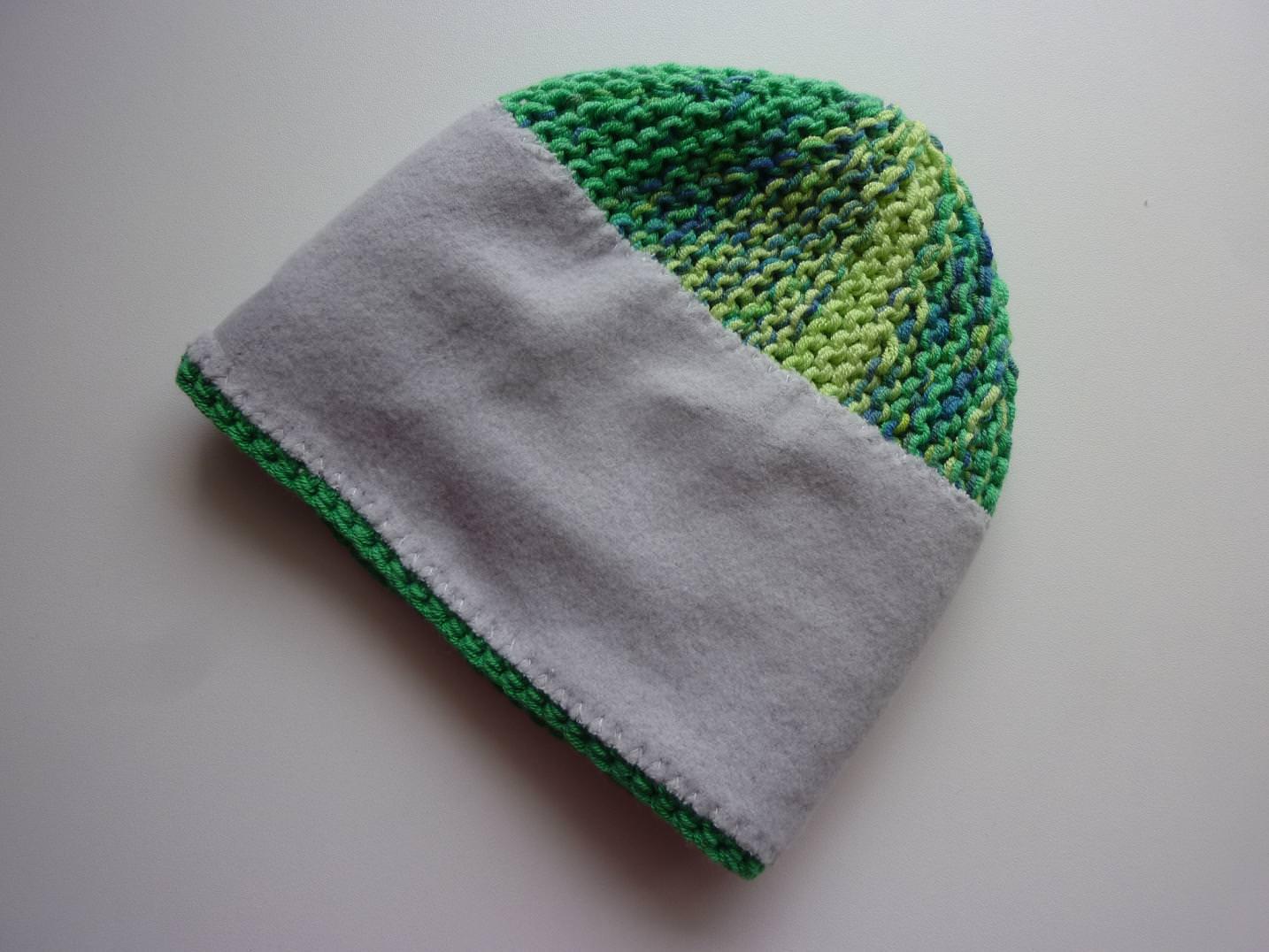 Kleinesbild - Babymütze Gr. 41 - 47 Grün aus Baumwolle handgestrickt, mit Fleece gefüttert