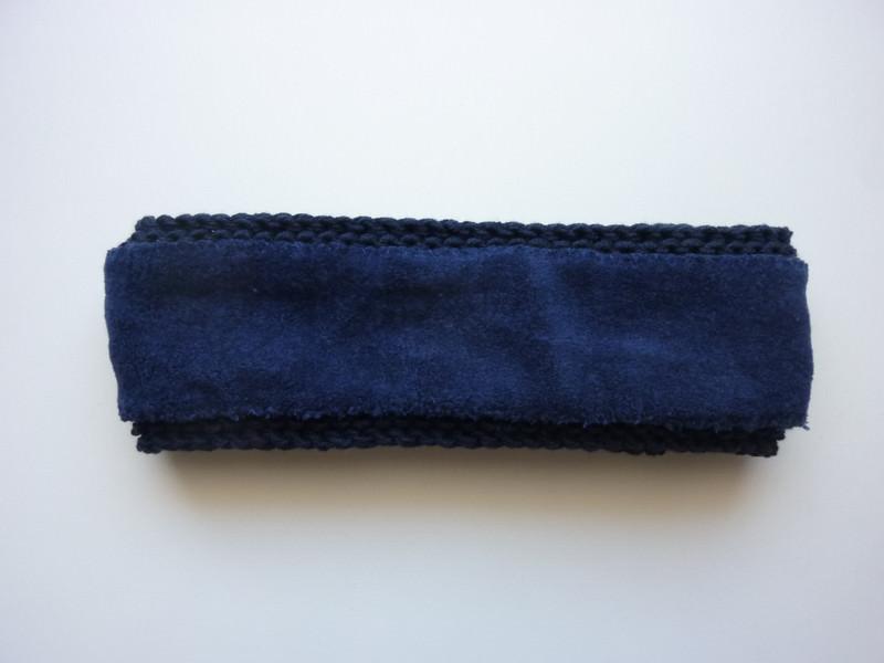 Kleinesbild - gefüttertes Stirnband in dunkelblau aus Baumwolle handgestrickt