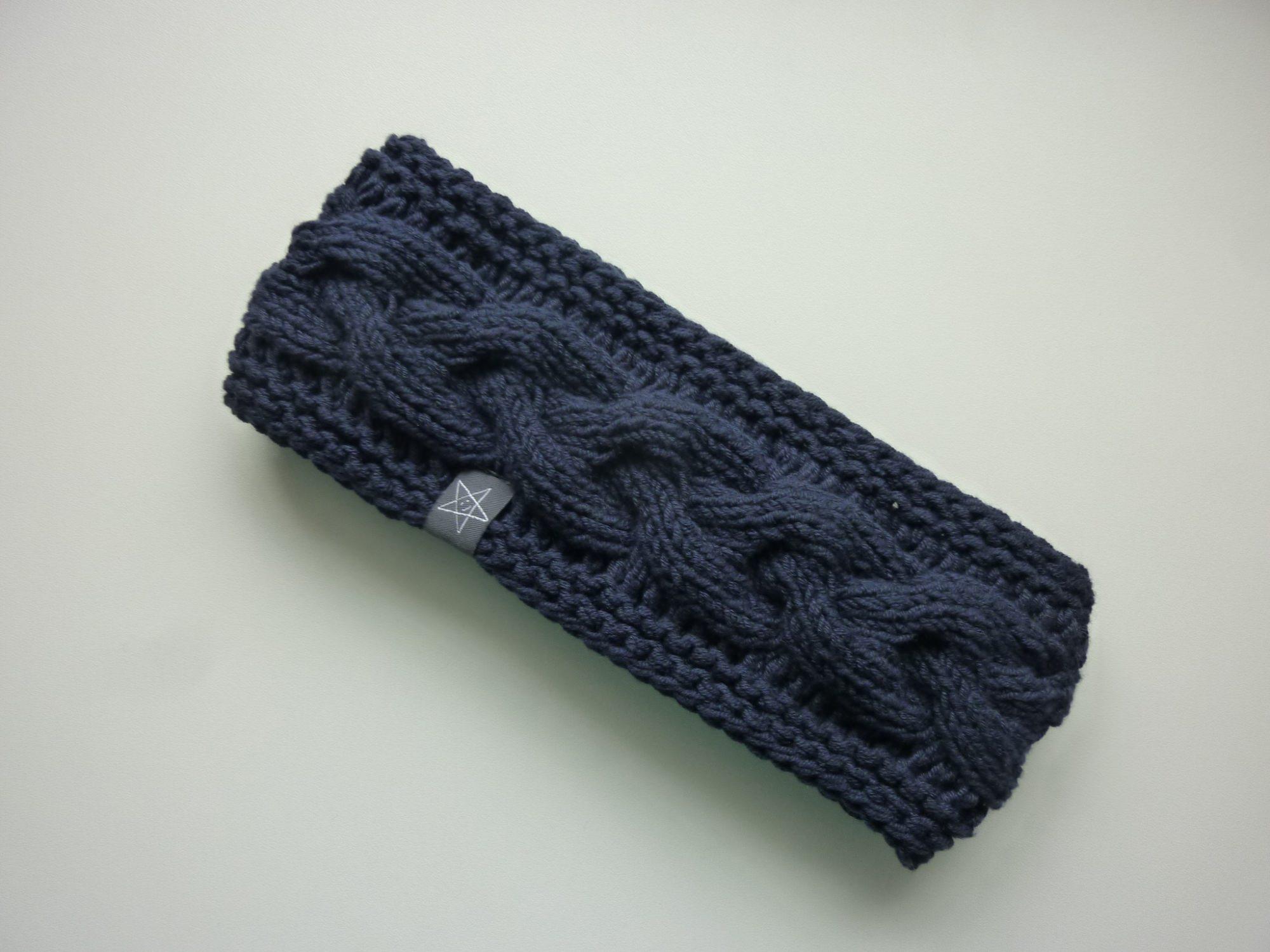 - gefüttertes Stirnband in dunkelblau aus Baumwolle handgestrickt - gefüttertes Stirnband in dunkelblau aus Baumwolle handgestrickt