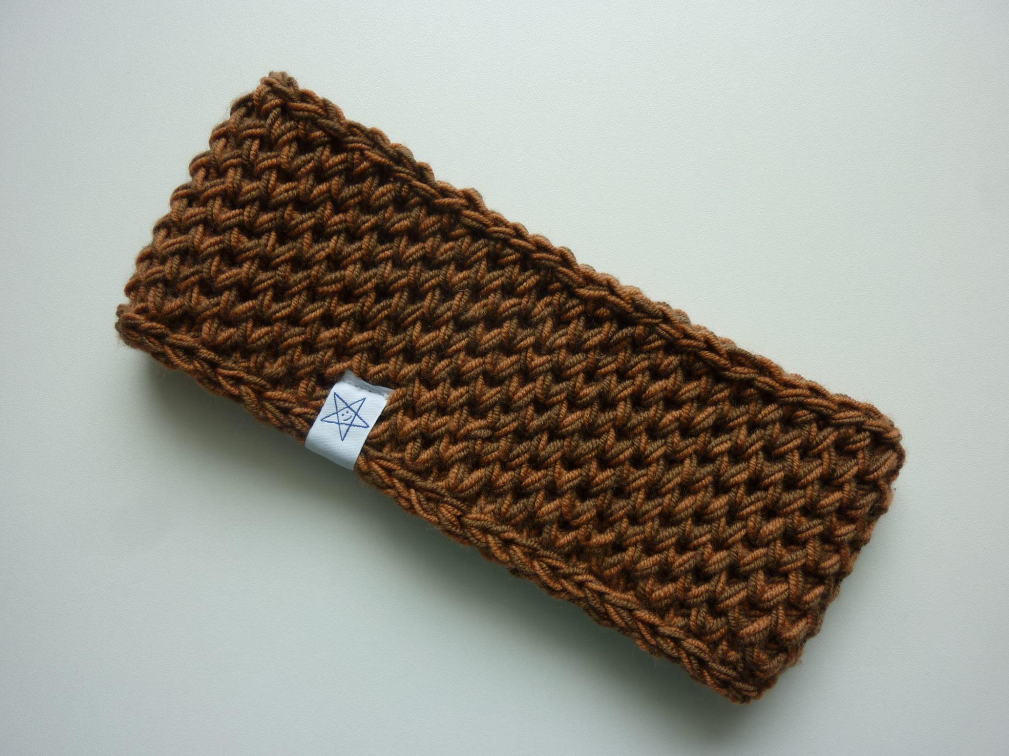 - Stirnband in braun rostbraun aus Schurwolle handgestrickt - Stirnband in braun rostbraun aus Schurwolle handgestrickt