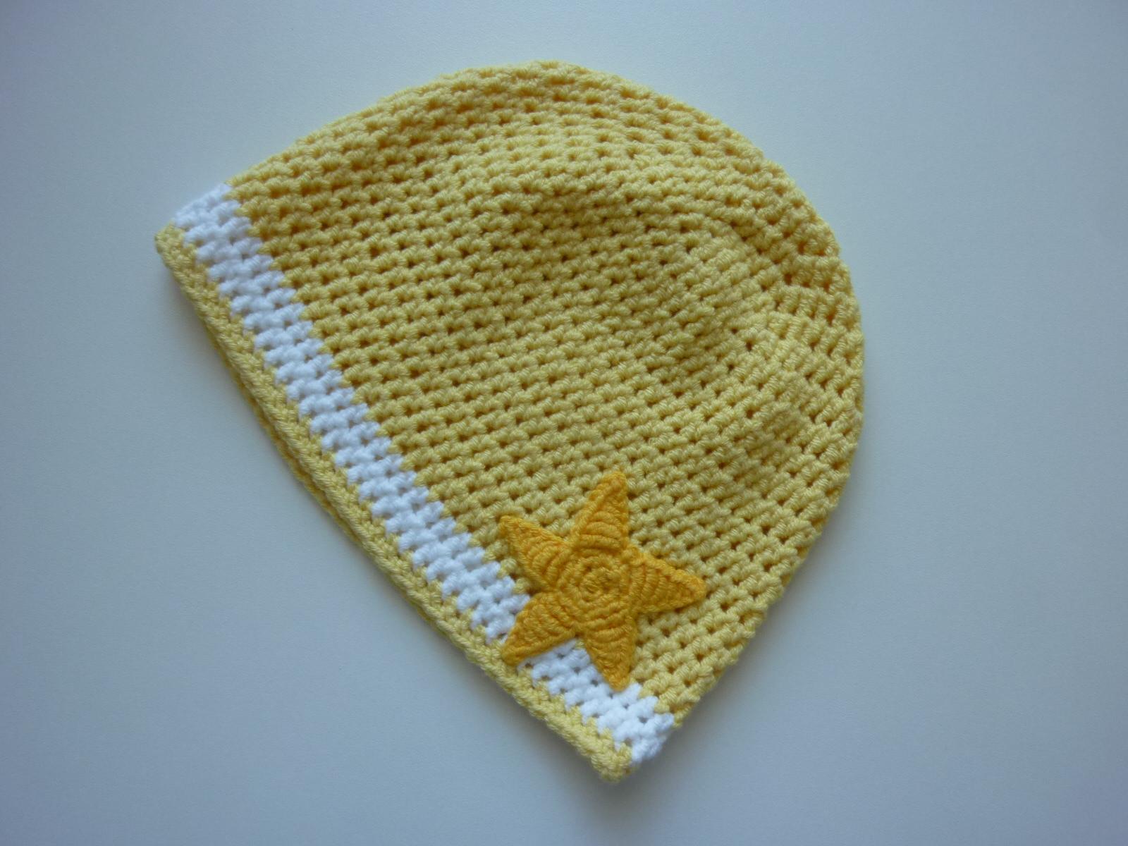 - gehäkelte dünne Babymütze in gelb und weiß aus Baumwolle - gehäkelte dünne Babymütze in gelb und weiß aus Baumwolle