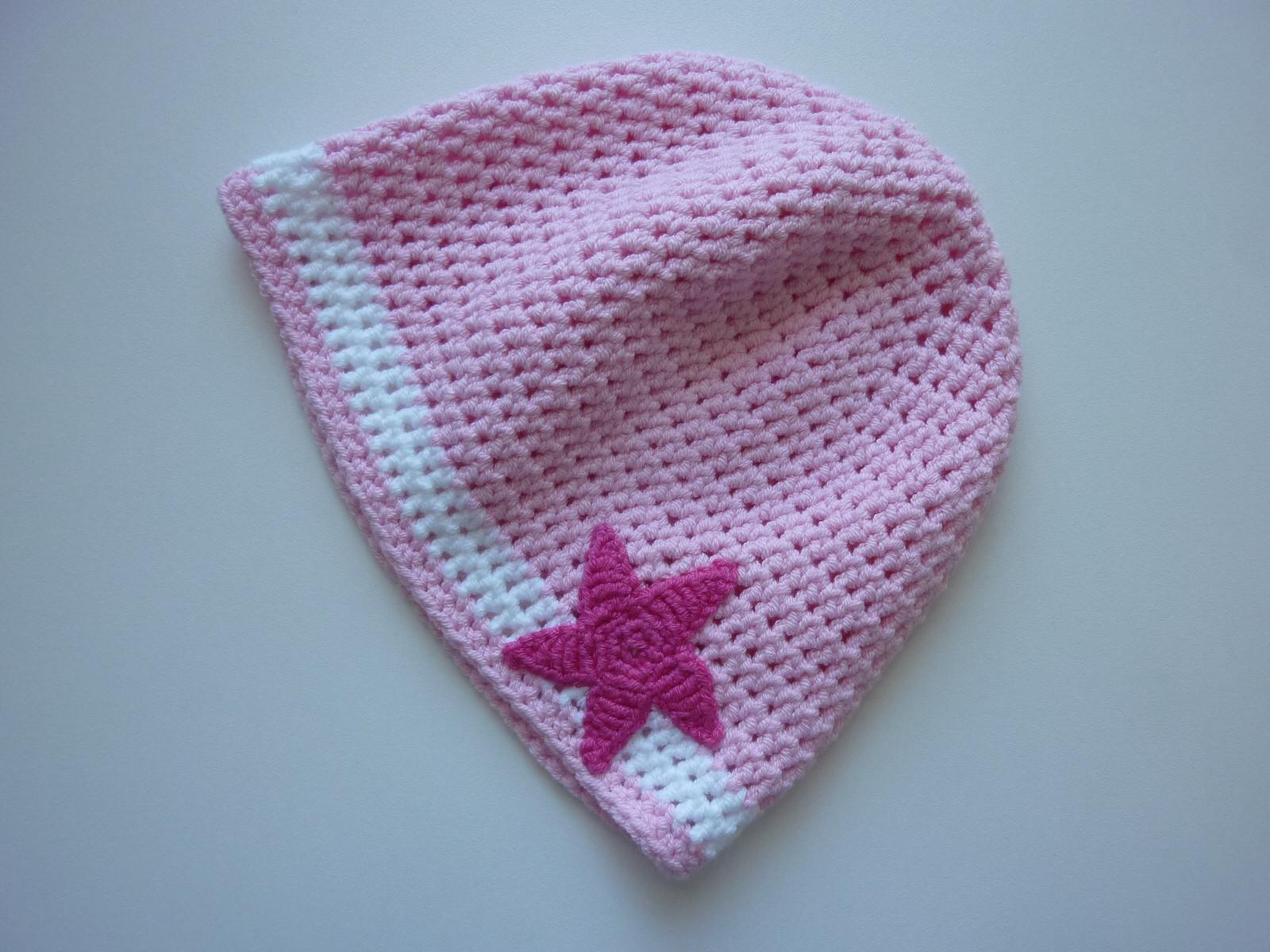 - gehäkelte dünne Babymütze in rosa und weiß aus Baumwolle - gehäkelte dünne Babymütze in rosa und weiß aus Baumwolle