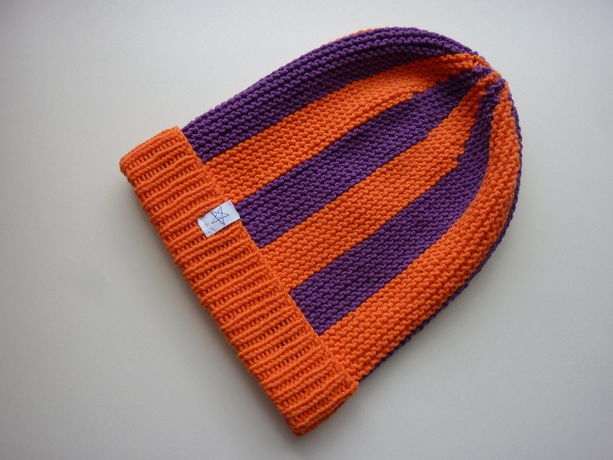 Kleinesbild - Strickmütze Orange und Lila aus Baumwolle handgestrickt