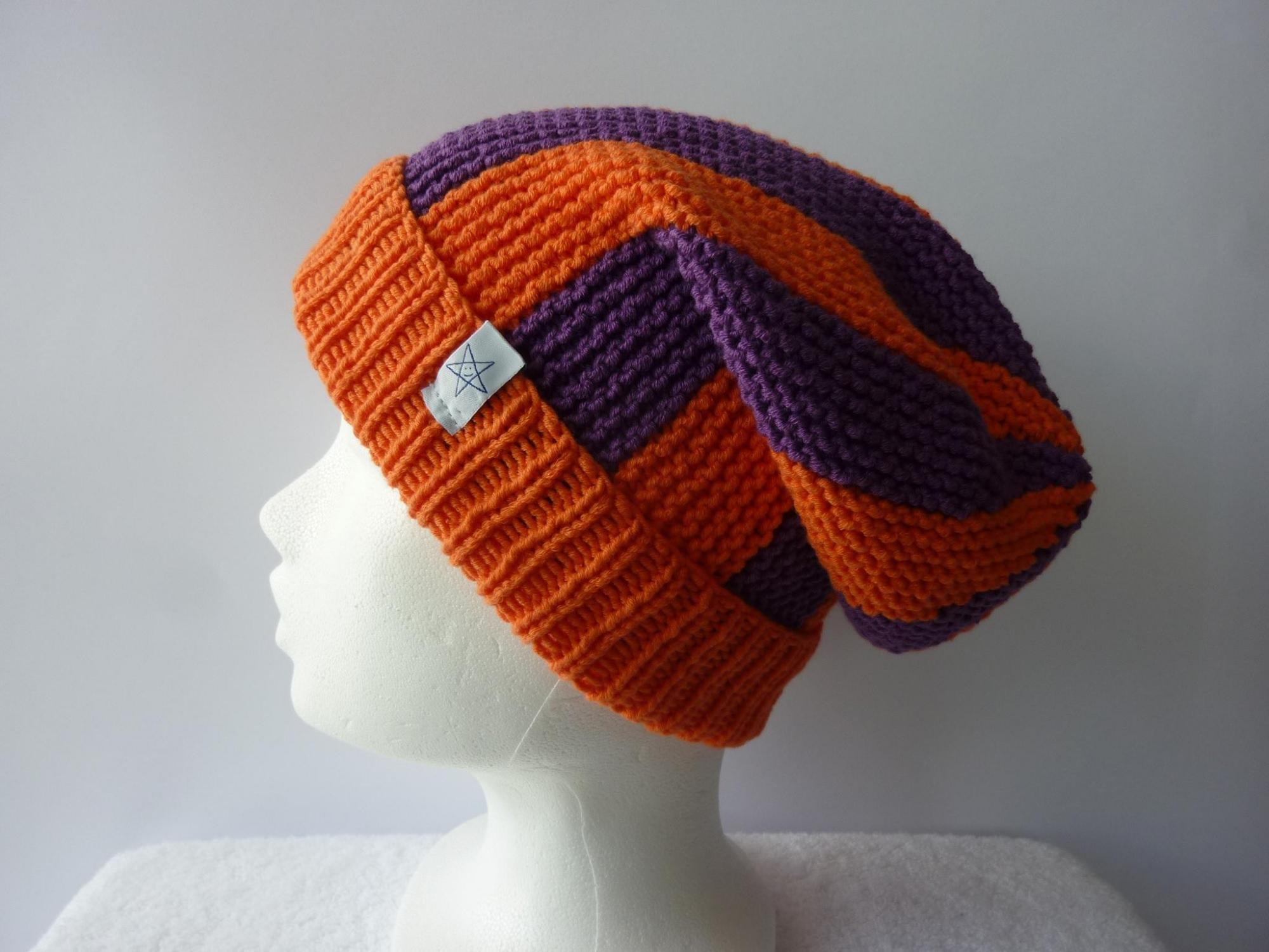 - Strickmütze Orange und Lila aus Baumwolle handgestrickt - Strickmütze Orange und Lila aus Baumwolle handgestrickt