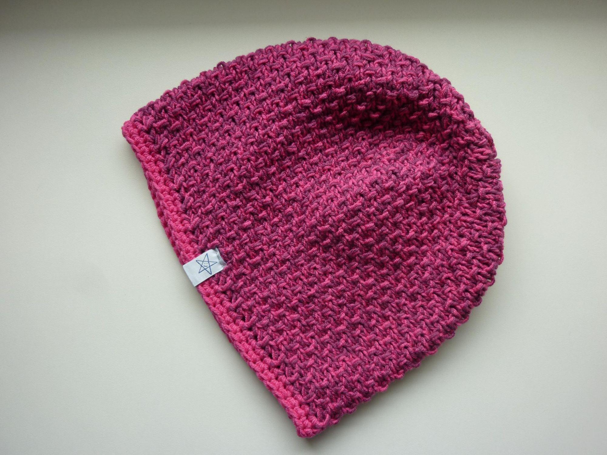 Kleinesbild - Strickmütze Dunkelrot Pink aus Baumwolle handgestrickt