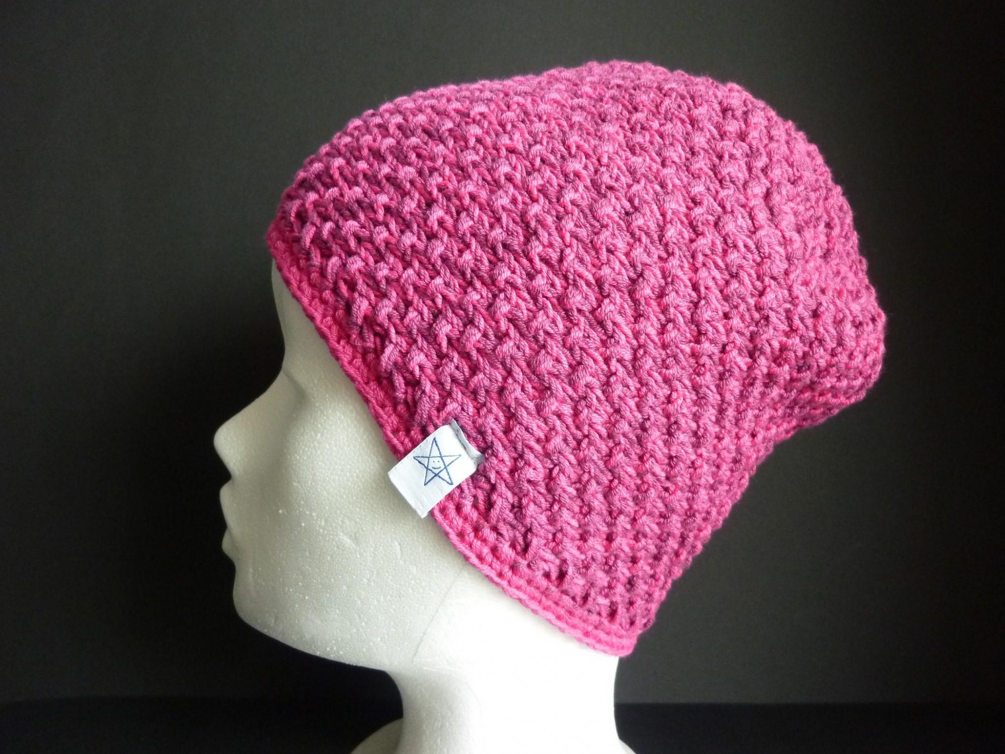 - Strickmütze Dunkelrot Pink aus Baumwolle handgestrickt - Strickmütze Dunkelrot Pink aus Baumwolle handgestrickt
