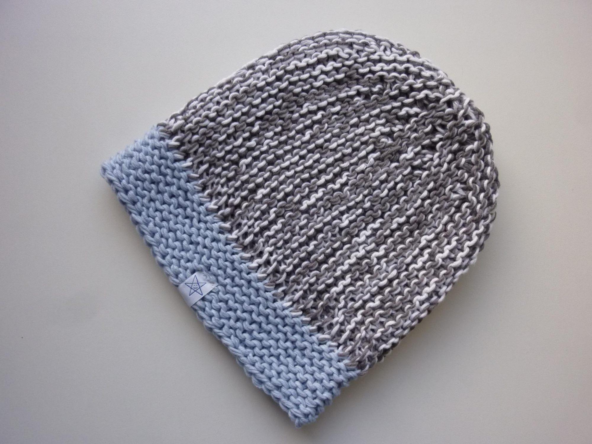 Kleinesbild - Strickmütze Hellgrau Weiß Hellblau