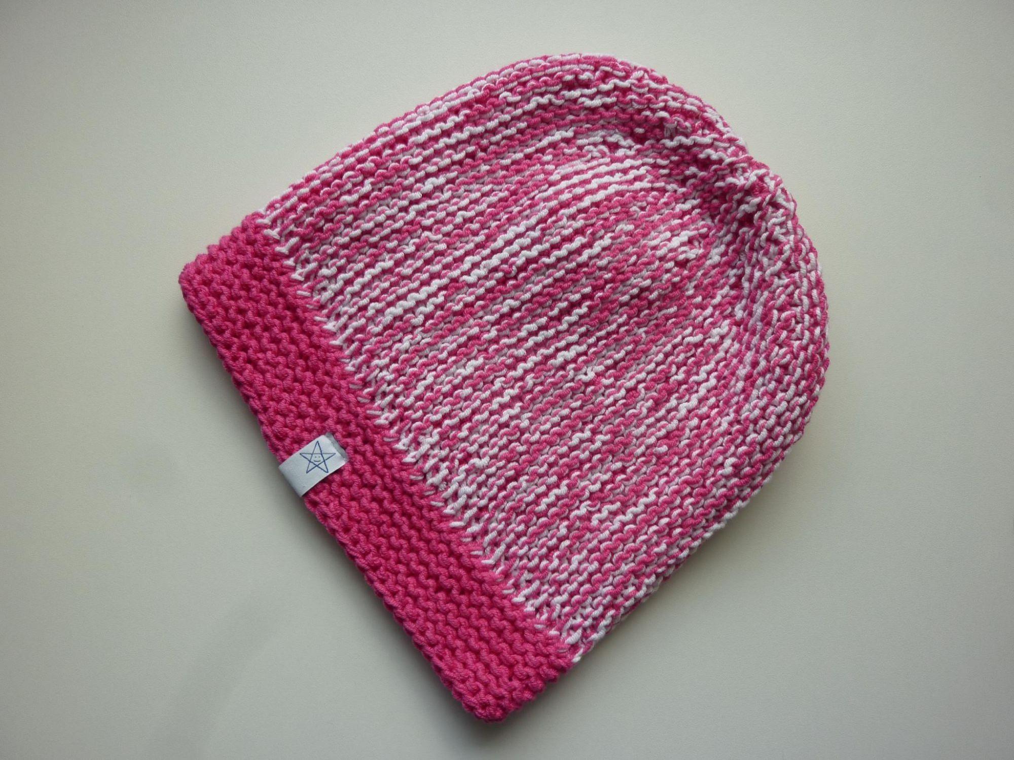 Kleinesbild - Strickmütze Pink Weiß aus Baumwolle handgestrickt