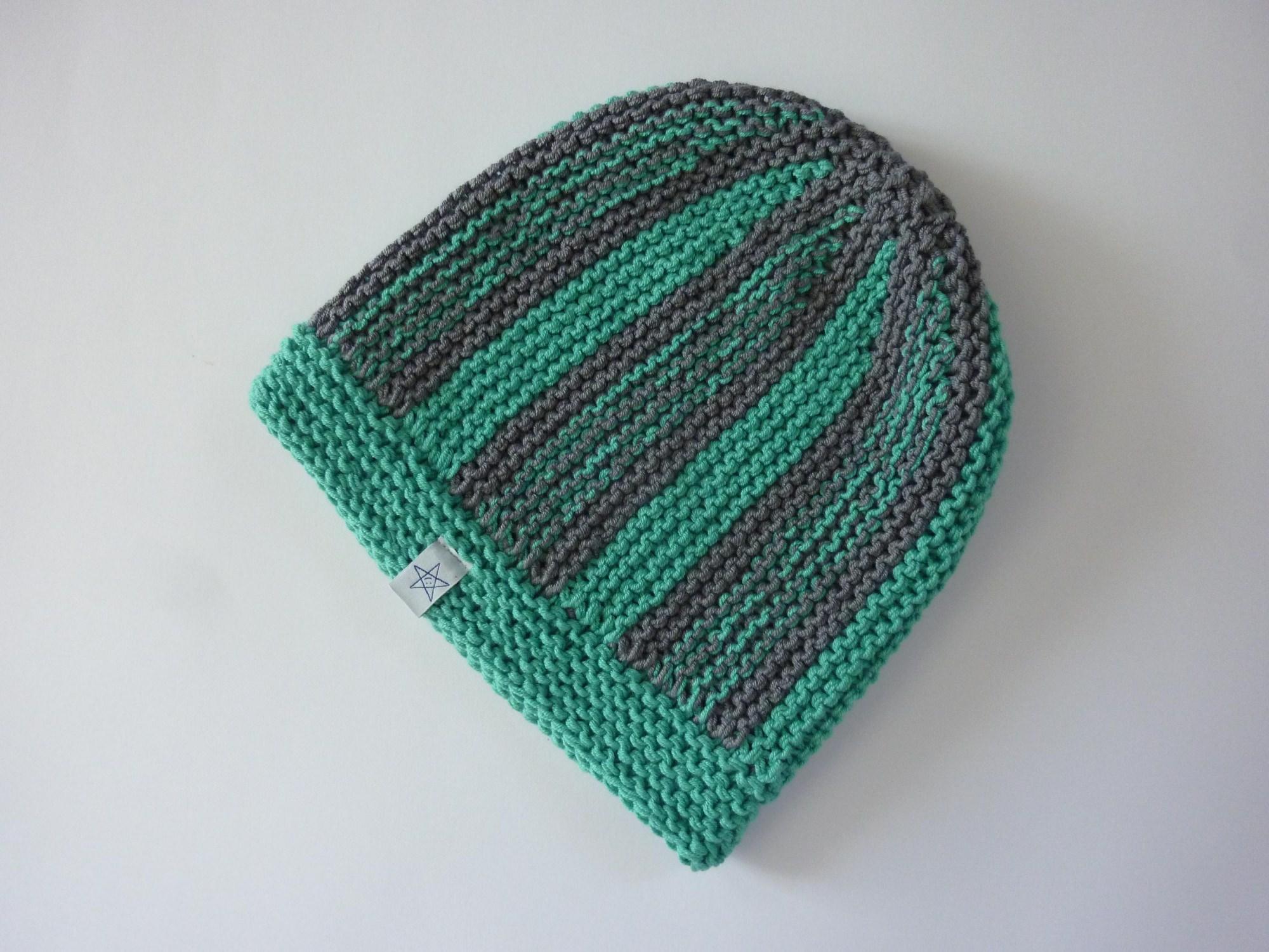 Kleinesbild - Strickmütze grüntürkis und grau aus Baumwolle handgestrickt