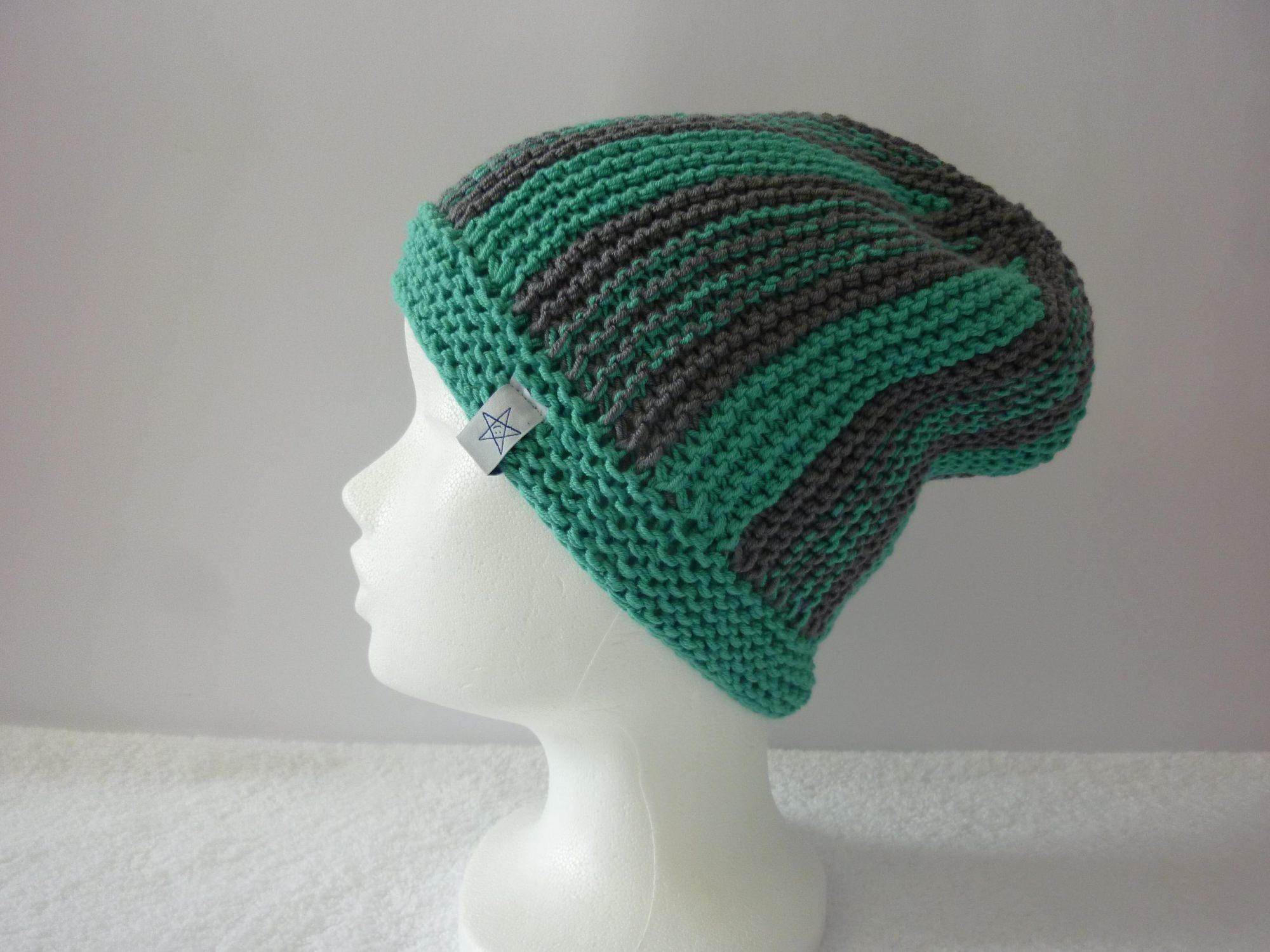 - Strickmütze grüntürkis und grau aus Baumwolle handgestrickt - Strickmütze grüntürkis und grau aus Baumwolle handgestrickt