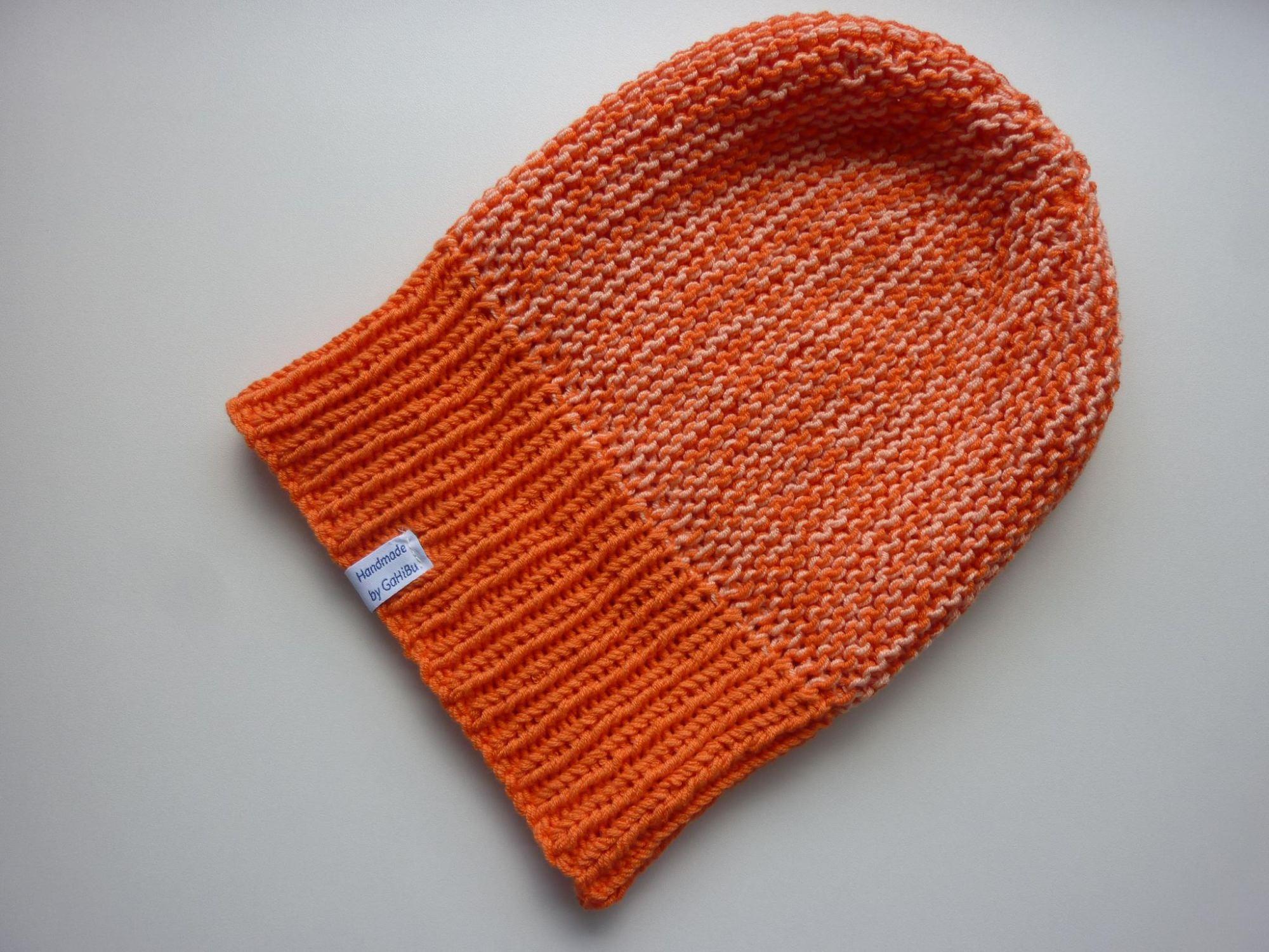 Kleinesbild - Strickmütze Orange Lachs mit Umschlag aus Baumwolle handgestrickt