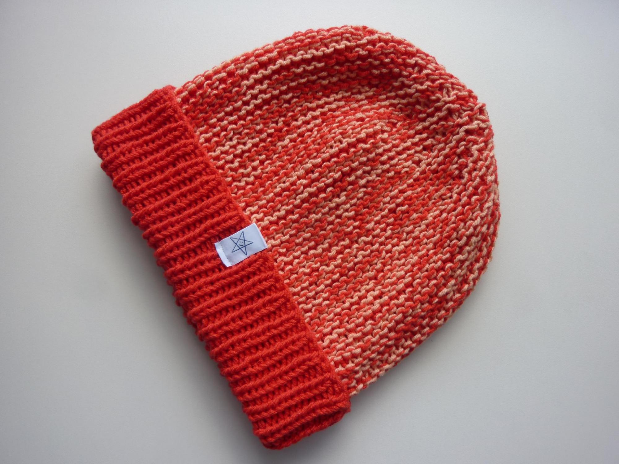 Kleinesbild - Strickmütze Rot Lachs mit Umschlag aus Baumwolle handgestrickt