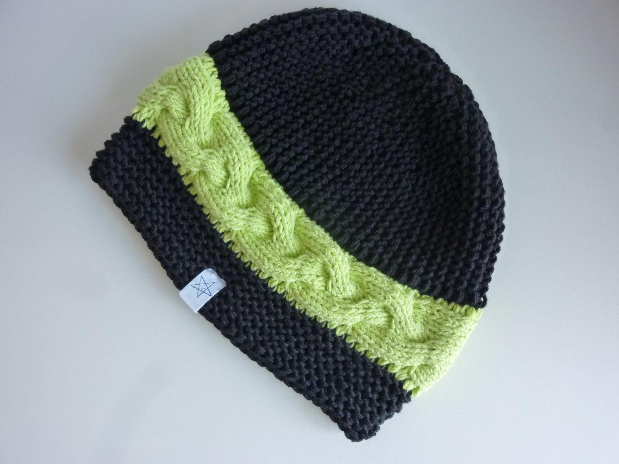 Kleinesbild - Strickmütze schwarz hellgrün aus Baumwolle handgestrickt