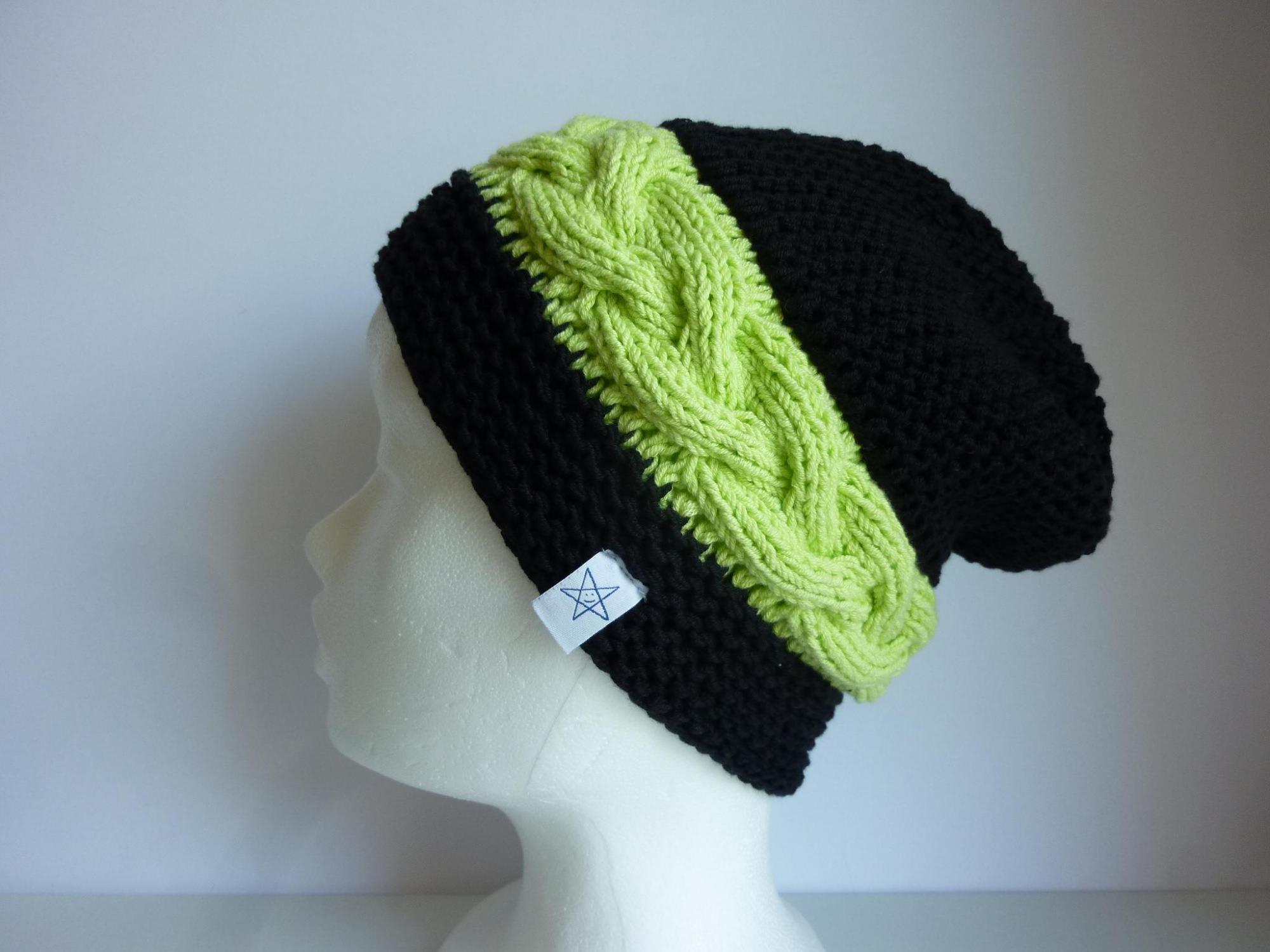 - Strickmütze schwarz hellgrün aus Baumwolle handgestrickt - Strickmütze schwarz hellgrün aus Baumwolle handgestrickt