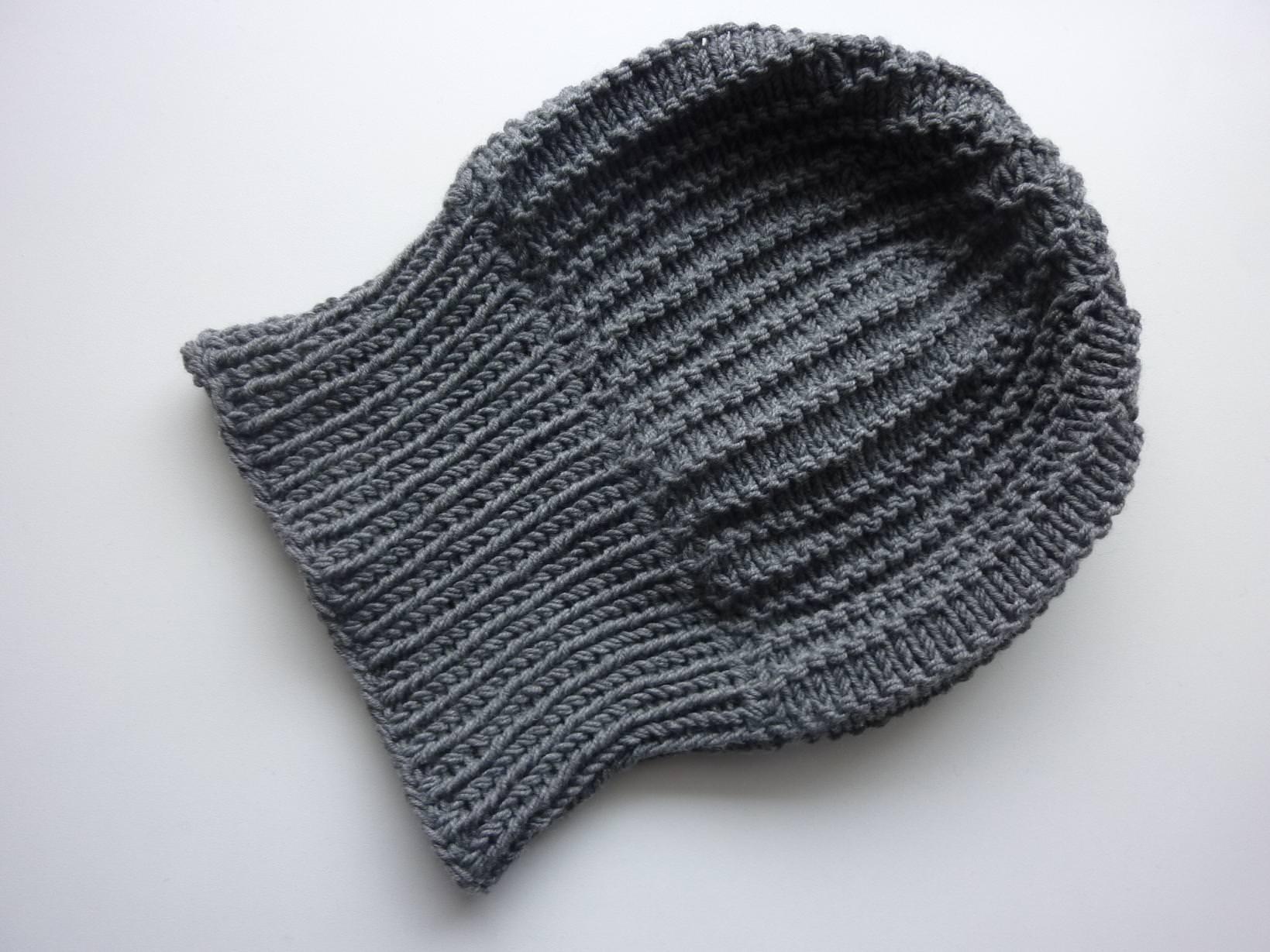 Kleinesbild - Strickmütze mit Umschlag Grau aus Schurwolle handgestrickt