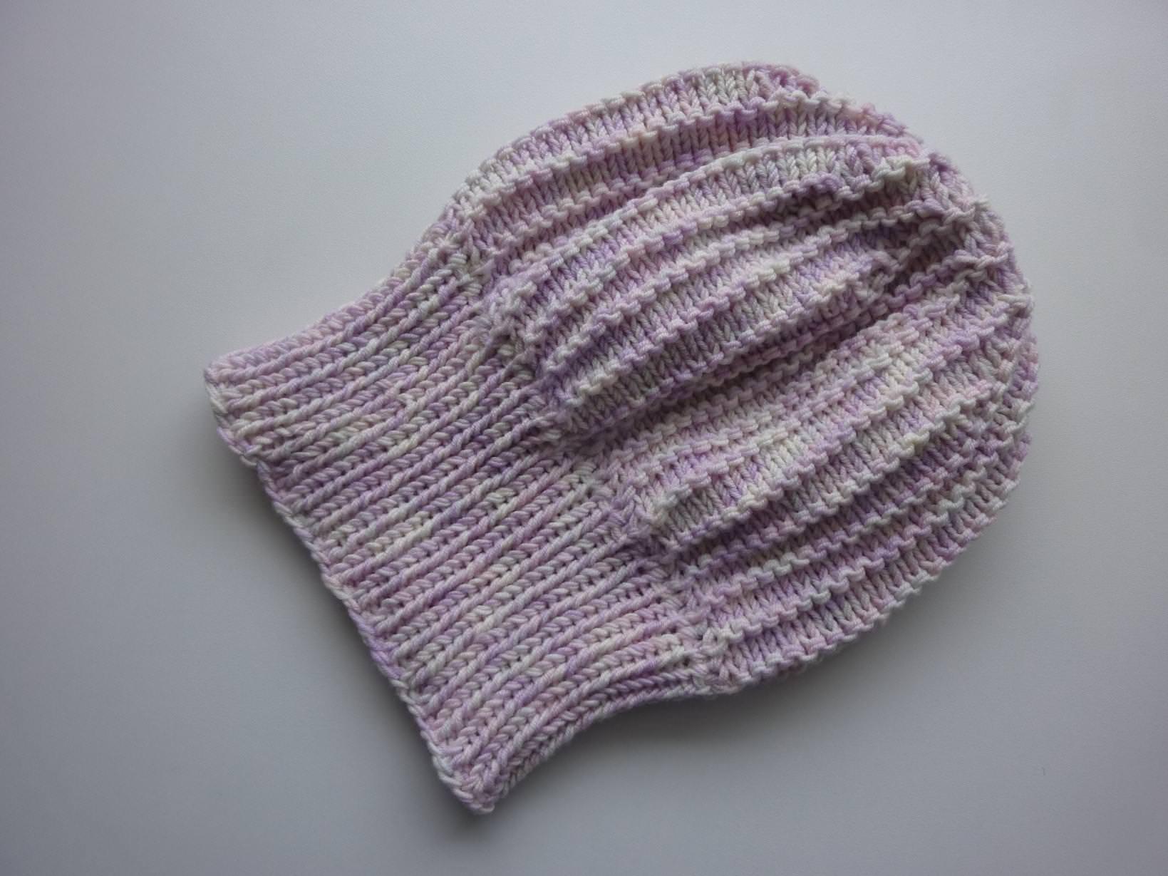 Kleinesbild - Strickmütze mit Umschlag in Pastelltönen aus Schurwolle handgestrickt