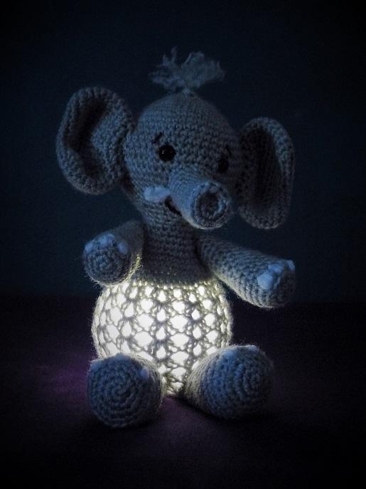 Kleinesbild - Gehäkeltes Nachtlicht - Dekolicht - Elefant - Kinderzimmer - Deko (Kopie id: 100188854)
