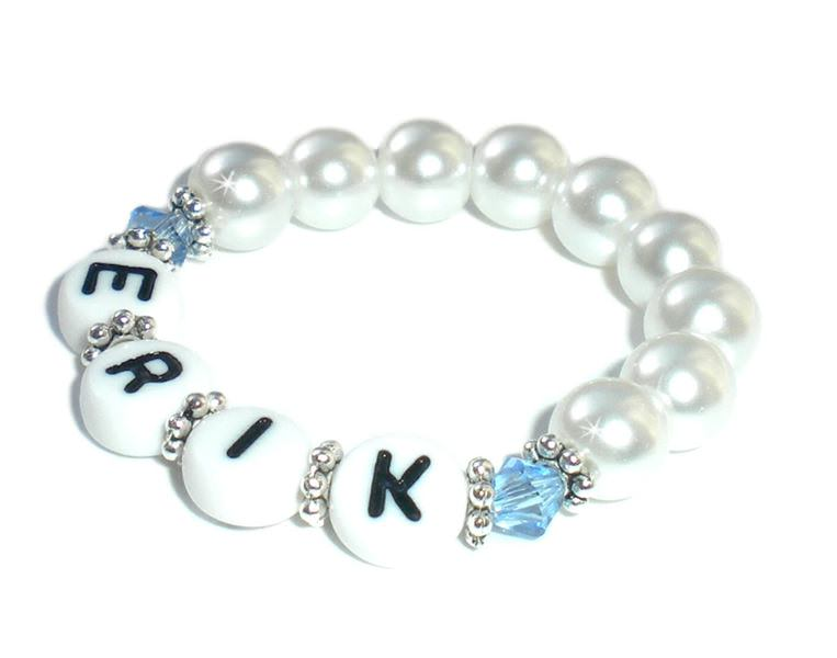 - Taufarmband mit Kristall Perlen ♥ Babyarmband mit Name   - Taufarmband mit Kristall Perlen ♥ Babyarmband mit Name