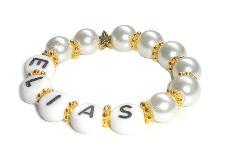 - Taufarmband mit Perlen ♥ Babyarmband mit Name   - Taufarmband mit Perlen ♥ Babyarmband mit Name