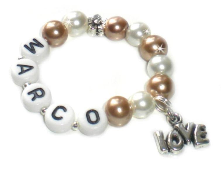 - Taufarmband mit Perlen (Farbwahl) ♥ Babyarmband mit Name   - Taufarmband mit Perlen (Farbwahl) ♥ Babyarmband mit Name