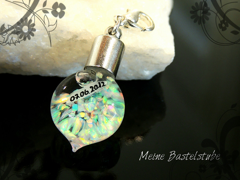 Kleinesbild - Opalanhänger/Dangle rund mit OPAL-Splitter Bead Kettenanhänger