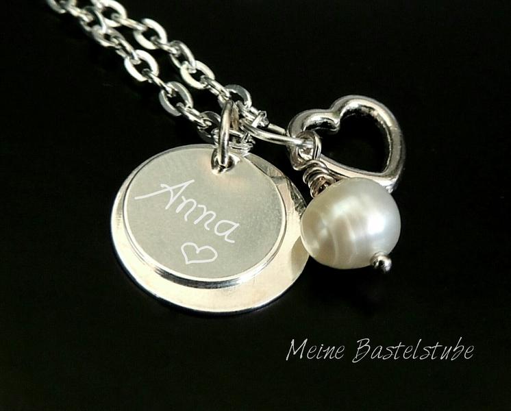 - Kette mit Name, individuelle Namenskette mit gravierten Anhänger-Plättchen Herz - Kette mit Name, individuelle Namenskette mit gravierten Anhänger-Plättchen Herz