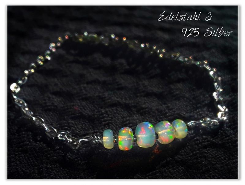 - Opal Armband mit echten WELO Opalen | Opal Armkette silber Armkettchen - Opal Armband mit echten WELO Opalen | Opal Armkette silber Armkettchen