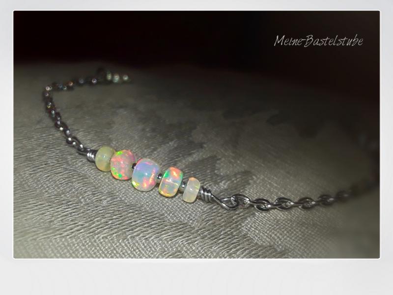Kleinesbild - Opal Armband mit echten WELO Opalen | Opal Armkette silber Armkettchen