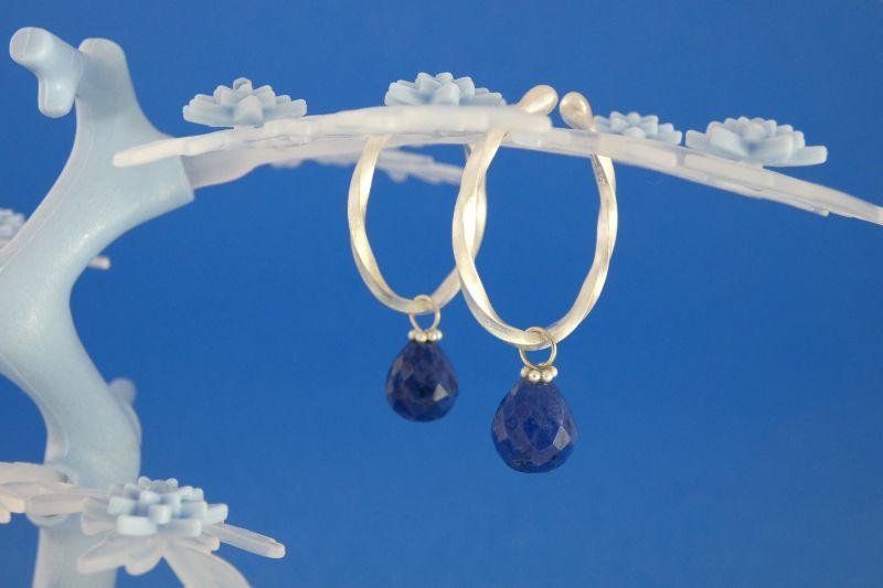 - handgearbeitete Sterlingsilber-Ohrringe mit kleinen facettierten Dumortierit-Tropfen kaufen - handgearbeitete Sterlingsilber-Ohrringe mit kleinen facettierten Dumortierit-Tropfen kaufen