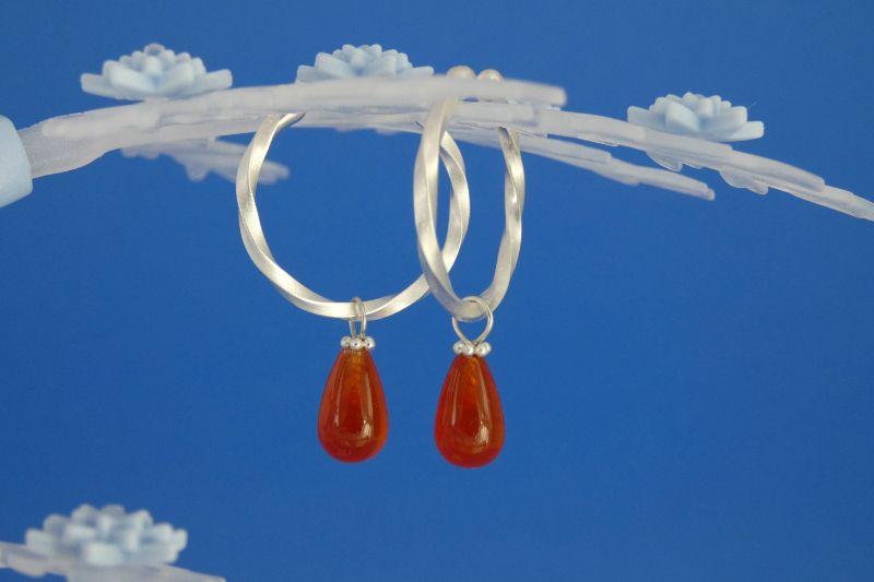 Kleinesbild - handgearbeitete Sterlingsilber-Ohrringe mit orangeroten Carneol-Tropfen kaufen