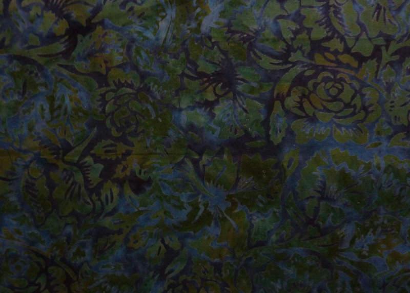 - ✂ Batik Stoff Meterware edle Rosen dunkelblau und grün - ✂ Batik Stoff Meterware edle Rosen dunkelblau und grün