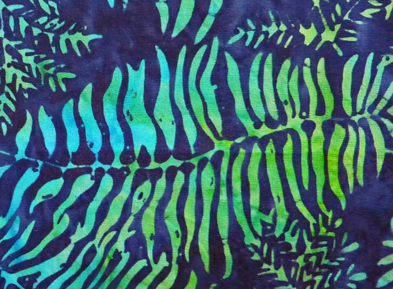 Kleinesbild - ✂ Patchworkstoff Meterware leuchtende Farnblätter auf dunklem Hintergrund Batikstoff