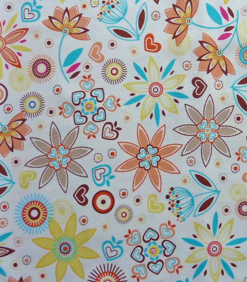 - ✂ Patchworkstoff Meterware bunte Blumen auf weißem Hintergrund - ✂ Patchworkstoff Meterware bunte Blumen auf weißem Hintergrund