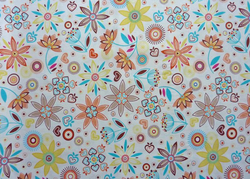 Kleinesbild - ✂ Patchworkstoff Meterware bunte Blumen auf weißem Hintergrund