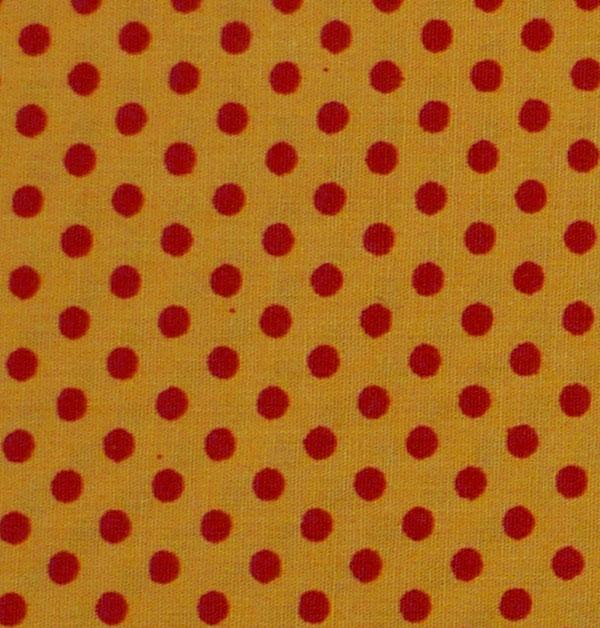 Kleinesbild - ✂ Patchworkstoff Meterware kleine gelbe Punkte auf orangen Hintergrund