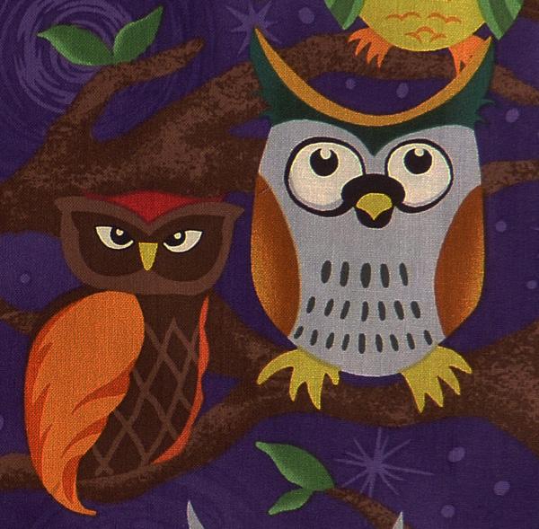 Kleinesbild - ✂ Patchworkstoff Meterware  Paintbrush Night Owls dunkel