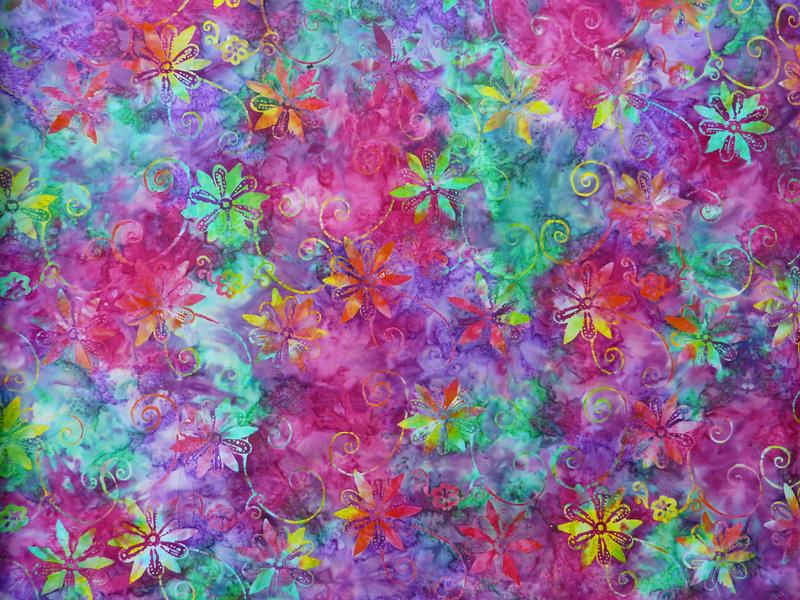 - ✂ Patchworkstoff Meterware  Eyelike Fabrics Batik bunte Blumen in türkis, pink, lila - ✂ Patchworkstoff Meterware  Eyelike Fabrics Batik bunte Blumen in türkis, pink, lila