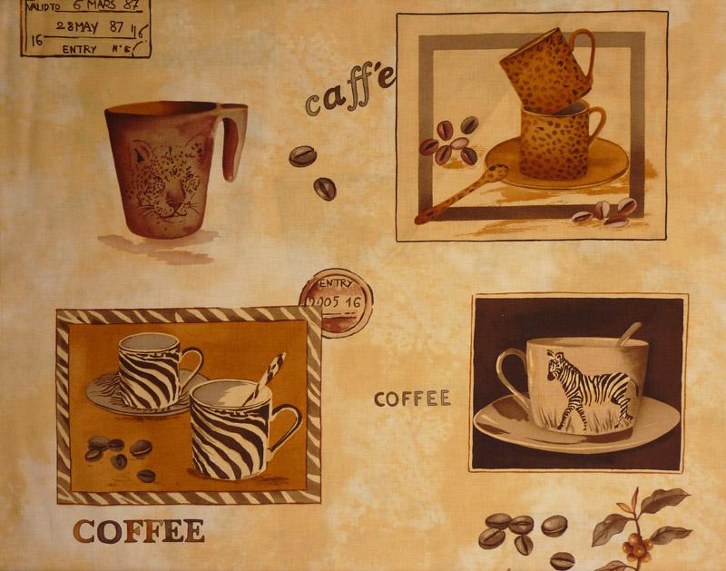 Kleinesbild - ✂ Patchworkstoff Meterware Coffee Journey Pattern dunkel