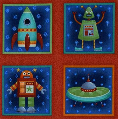 Kleinesbild - amerikanischer Patchworkstoff Meterware Makower UK Space Aliens