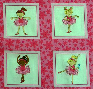 Kleinesbild - amerikanischer Patchworkstoff Meterware Fabri-Quilt Tanzende  Ballerinas  Labels