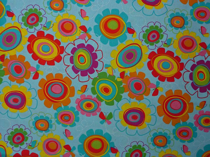 Kleinesbild - amerikanischer Patchworkstoff Meterware Studiofabrics Snail trails Blumen