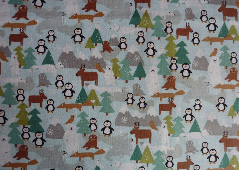 ✂ Patchworkstoff Meterware Mini-Pinguine Landschaft