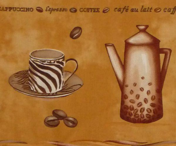 Kleinesbild - ✂ Patchworkstoff Meterware Coffee Journey Pattern Bordüre