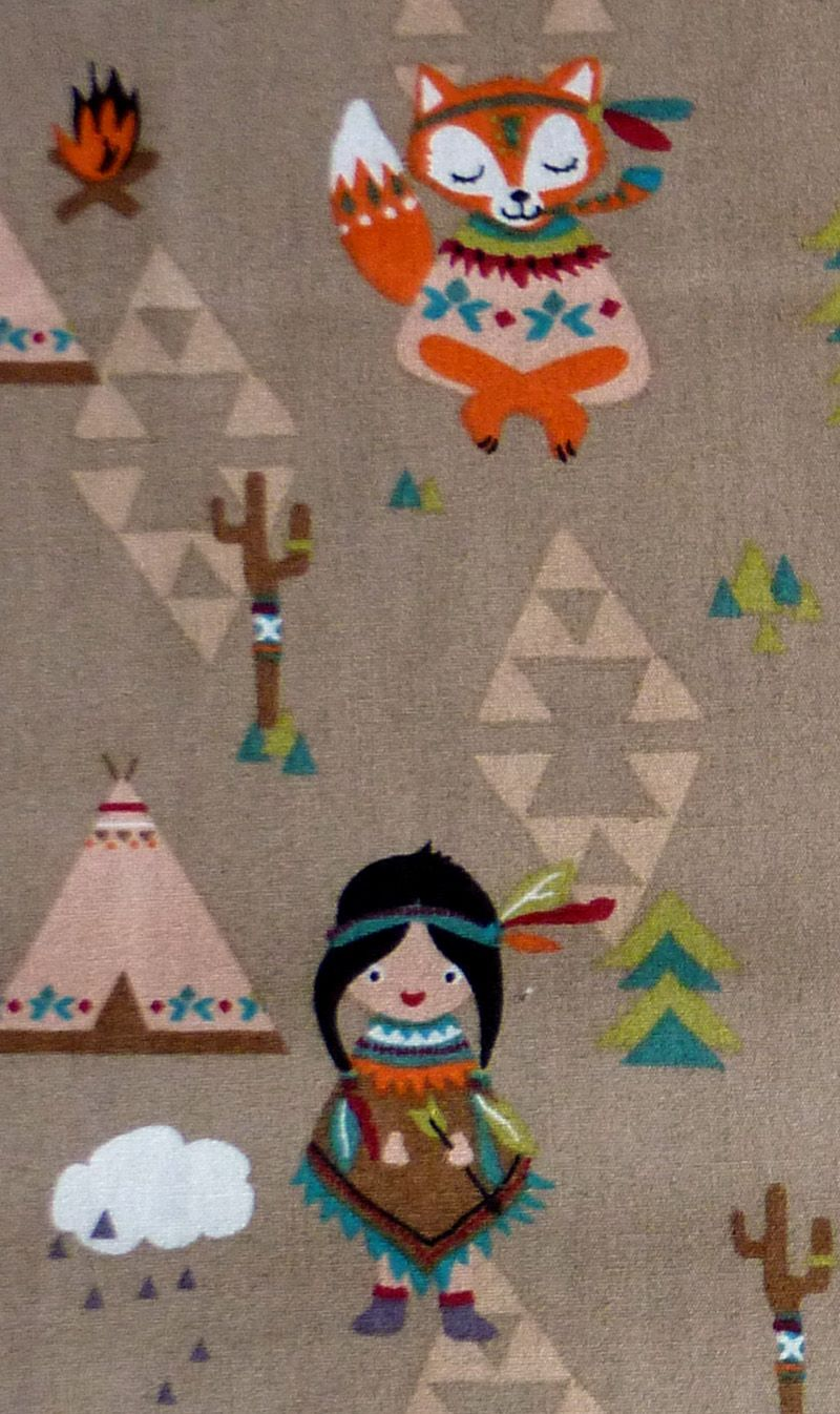 Kleinesbild - ✂ Patchworkstoff Meterware Baumwoll-Druck Indianer