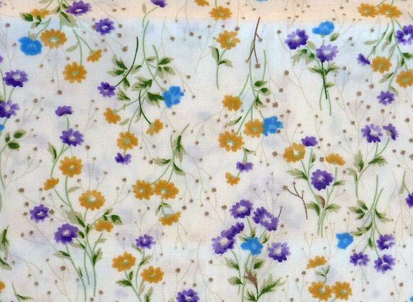 Kleinesbild - ✂ Patchworkstoffe Meterware Streublümchen lila - ocker