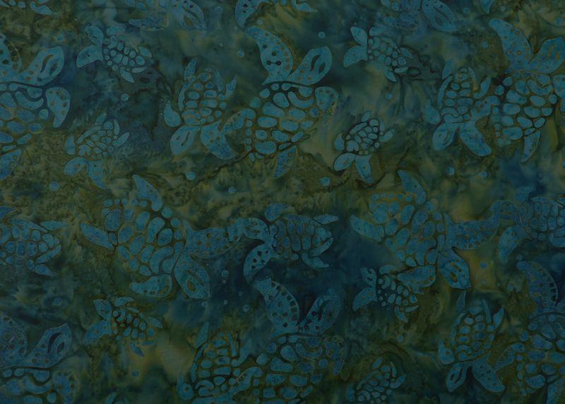 - ✂ Patchworkstoff Meterware  Eyelike Fabrics Batik Schildkröten dunkel blau-grün - ✂ Patchworkstoff Meterware  Eyelike Fabrics Batik Schildkröten dunkel blau-grün